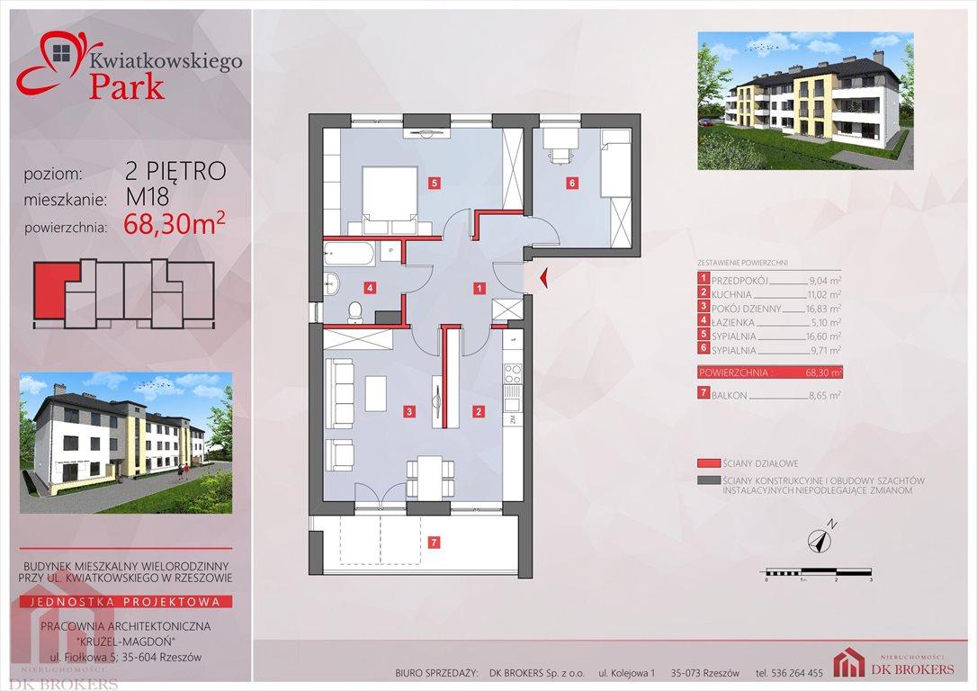 Mieszkanie trzypokojowe na sprzedaż Rzeszów, Drabinianka, al. Eugeniusza Kwiatkowskiego  68m2 Foto 4