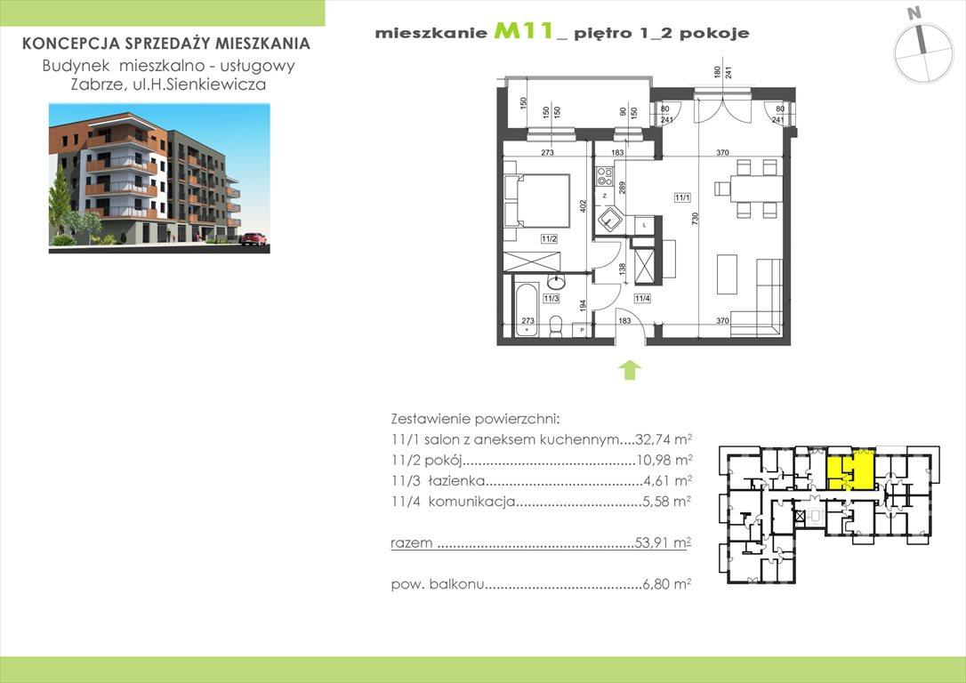 Mieszkanie dwupokojowe na sprzedaż Zabrze, Centrum, Sienkiewicza 15  53m2 Foto 1