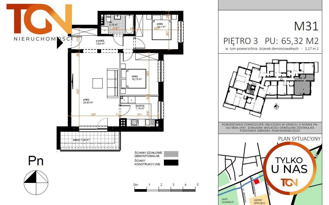 Mieszkanie trzypokojowe na sprzedaż Łódź, Doły, Czeremoska  67m2 Foto 5