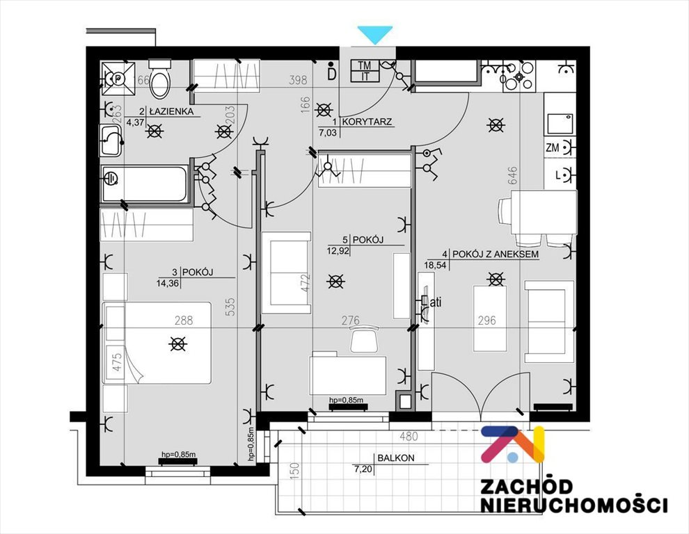 Mieszkanie trzypokojowe na sprzedaż Zielona Góra, Osiedle Śląskie  57m2 Foto 10