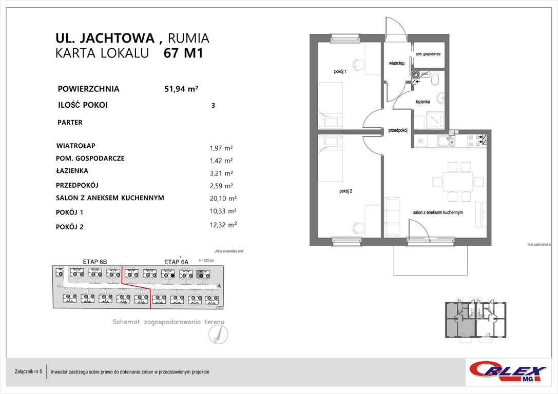 Mieszkanie trzypokojowe na sprzedaż Rumia, Jachtowa 101-131  52m2 Foto 7
