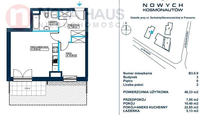 Mieszkanie dwupokojowe na sprzedaż Poznań, Winogrady  46m2 Foto 4