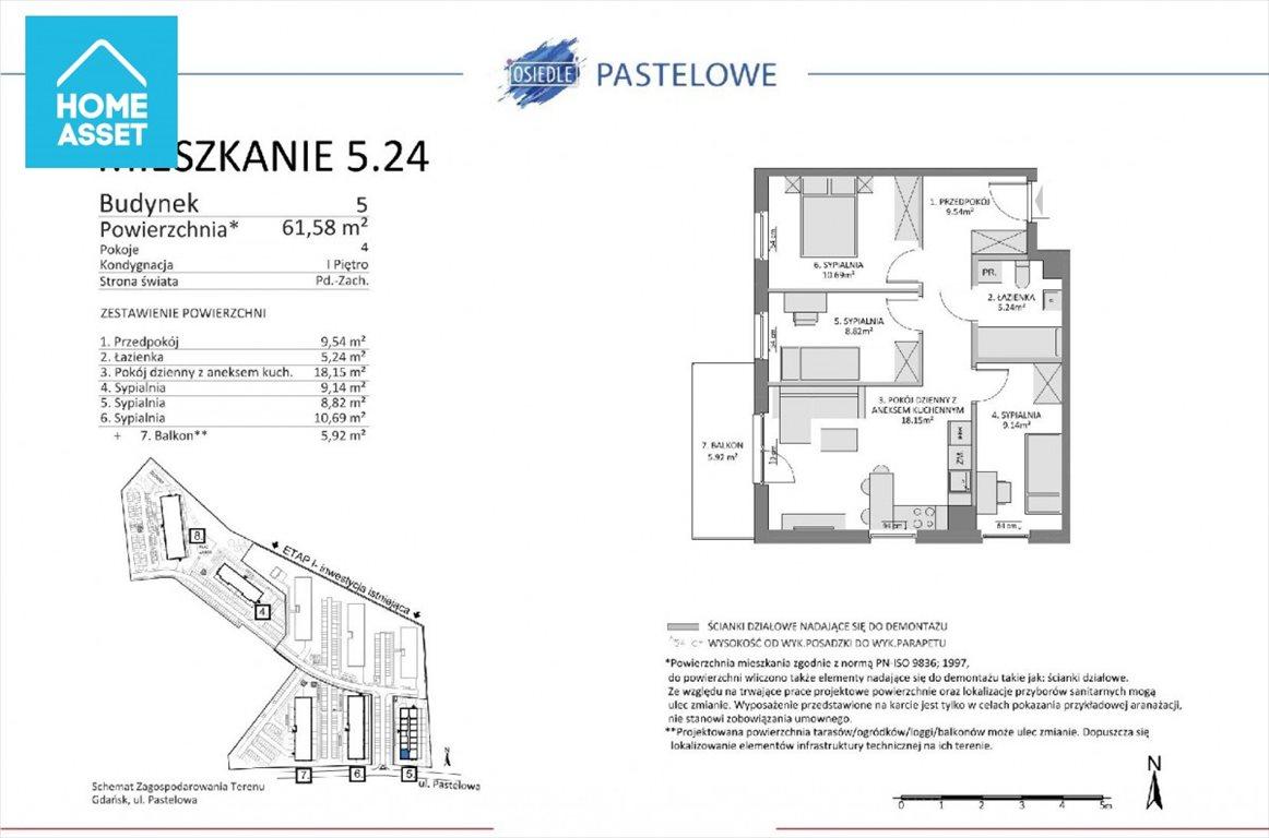 Mieszkanie czteropokojowe  na sprzedaż Gdańsk, Łostowice, Pastelowa  62m2 Foto 3