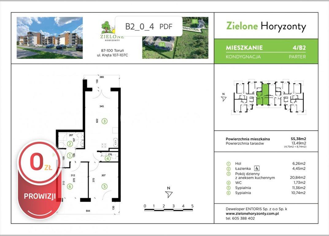 Mieszkanie trzypokojowe na sprzedaż Toruń, Kręta  55m2 Foto 2