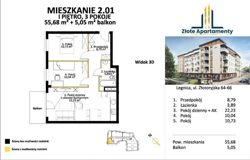 Mieszkanie trzypokojowe na sprzedaż Legnica, Tarninów, Złotoryjska  56m2 Foto 7