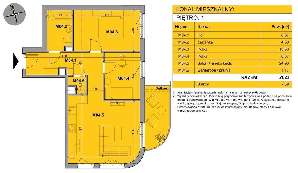 Mieszkanie trzypokojowe na sprzedaż Kraków, Podgórze, Kordiana  61m2 Foto 2