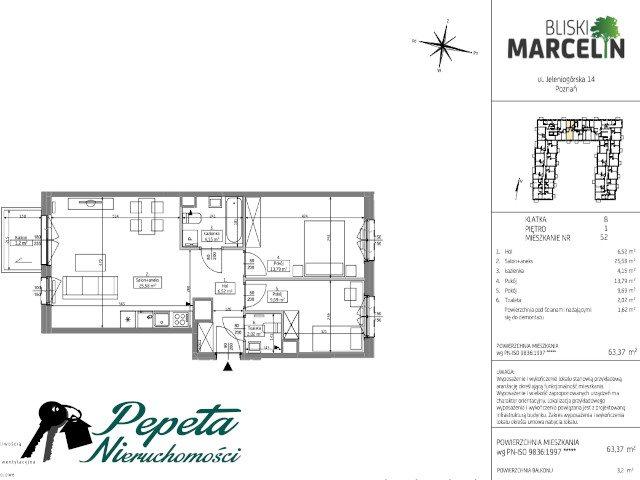 Mieszkanie trzypokojowe na sprzedaż Poznań, Grunwald, Jeleniogórska  63m2 Foto 9