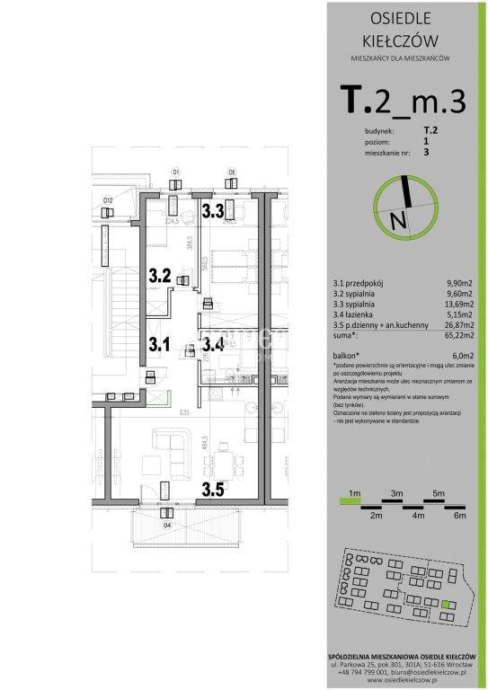 Mieszkanie trzypokojowe na sprzedaż Wrocław, Psie Pole, Kiełczów  65m2 Foto 6