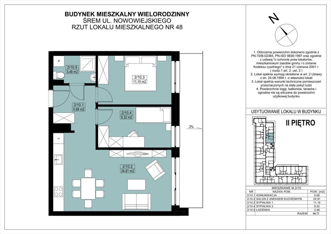 Mieszkanie trzypokojowe na sprzedaż Śrem, REZERWACJA  55m2 Foto 12