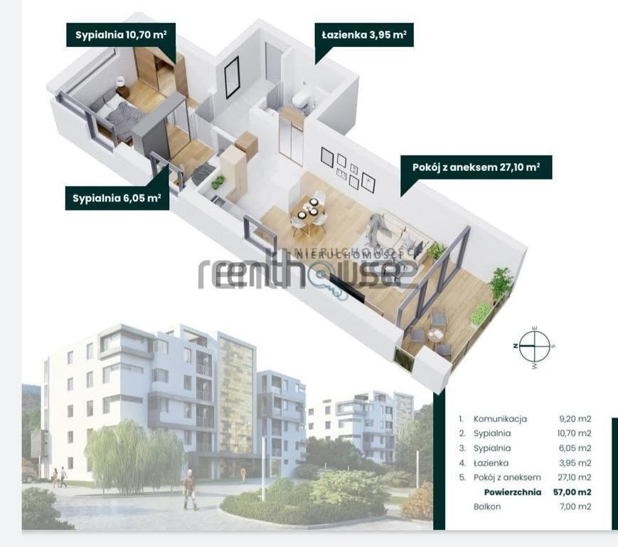 Mieszkanie trzypokojowe na sprzedaż Bielsko-Biała  57m2 Foto 6