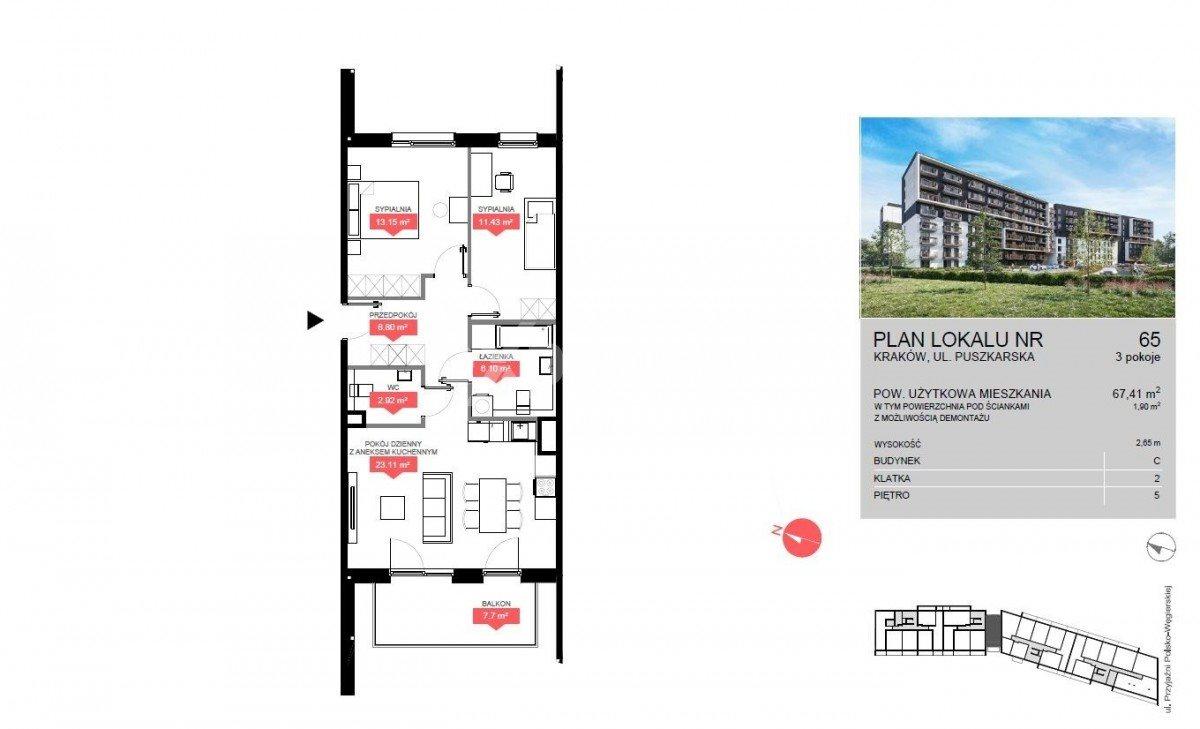 Mieszkanie trzypokojowe na sprzedaż Kraków, Bonarka, Puszkarska  67m2 Foto 5