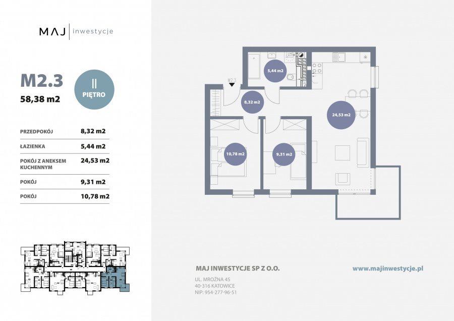 Mieszkanie trzypokojowe na sprzedaż Gliwice, Ligota Zabrska, Górna  58m2 Foto 3