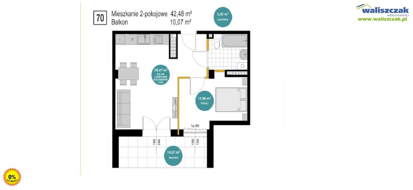 Mieszkanie dwupokojowe na sprzedaż Piotrków Trybunalski  42m2 Foto 1