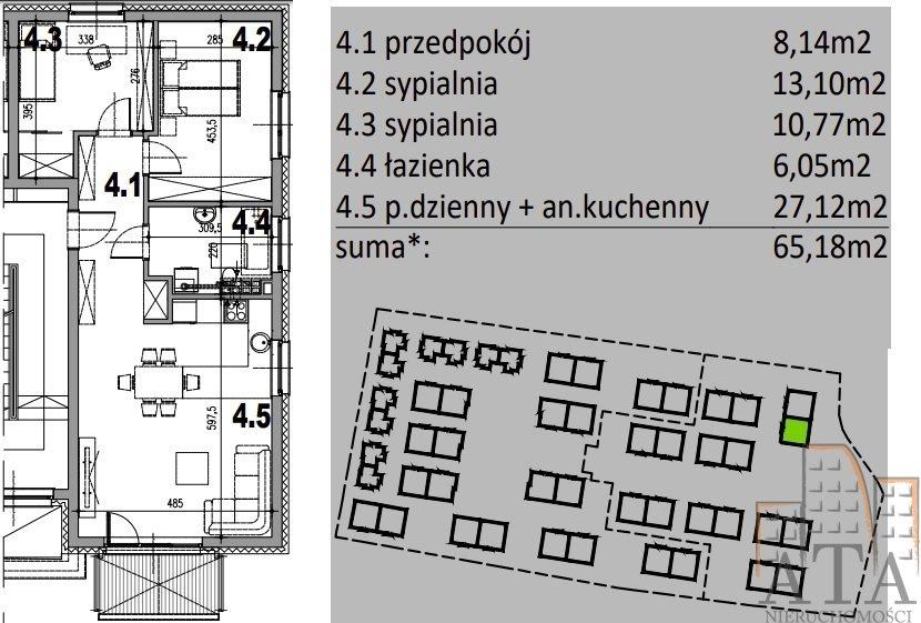 Mieszkanie trzypokojowe na sprzedaż Kiełczów  65m2 Foto 2