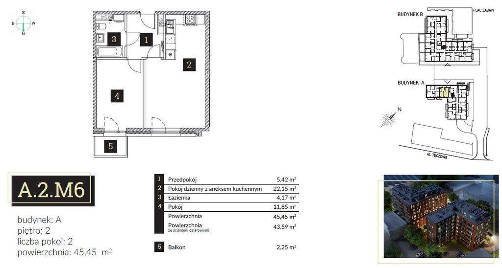 Mieszkanie dwupokojowe na sprzedaż Wrocław, Stare Miasto, Tęczowa  45m2 Foto 7