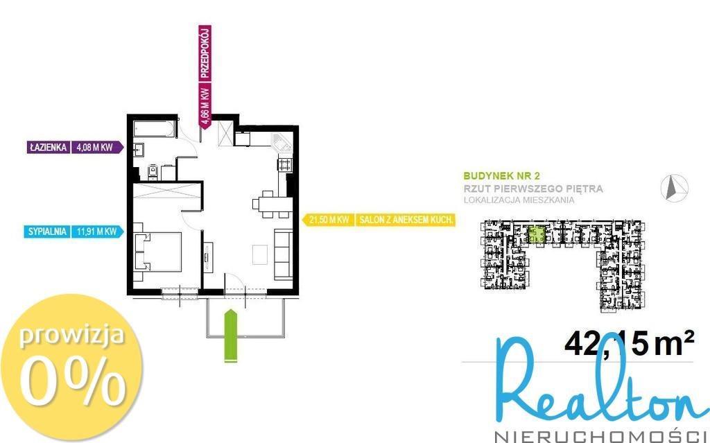 Mieszkanie dwupokojowe na sprzedaż Mikołów, Storczyków  42m2 Foto 1