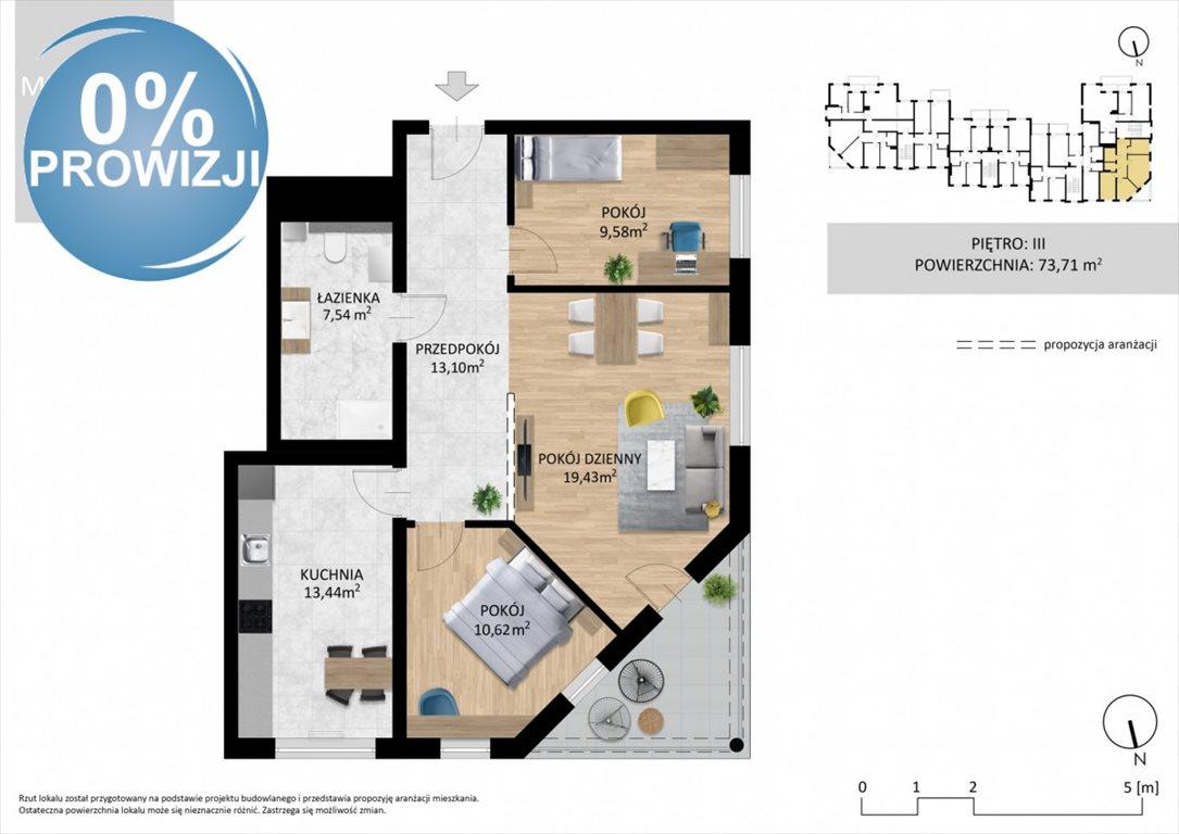 Mieszkanie trzypokojowe na sprzedaż Lublin, Wrotków, Ignacego Domeyki  74m2 Foto 2