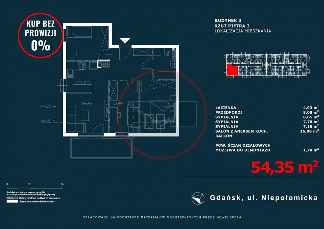 Mieszkanie czteropokojowe  na sprzedaż Gdańsk, Niepołomicka  54m2 Foto 1