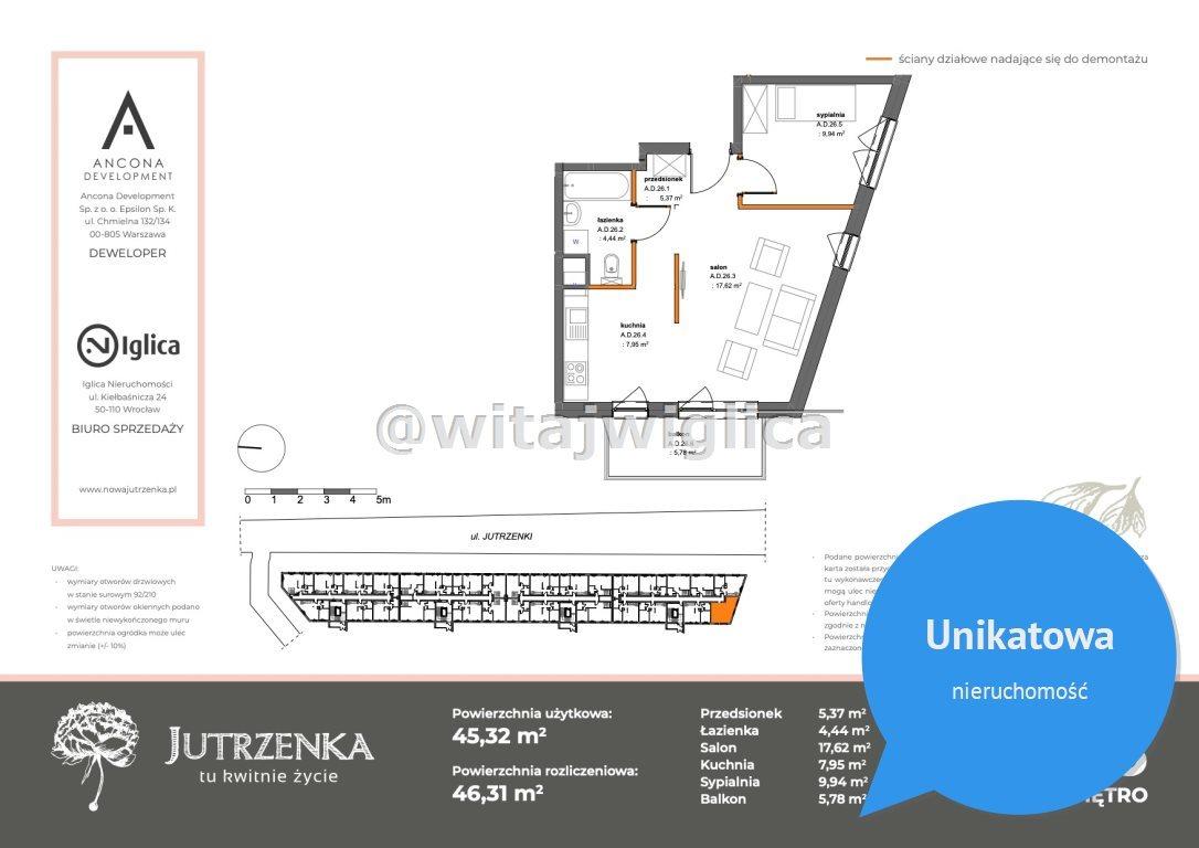 Mieszkanie dwupokojowe na sprzedaż Wrocław, Krzyki, Klecina, Jutrzenki  45m2 Foto 2