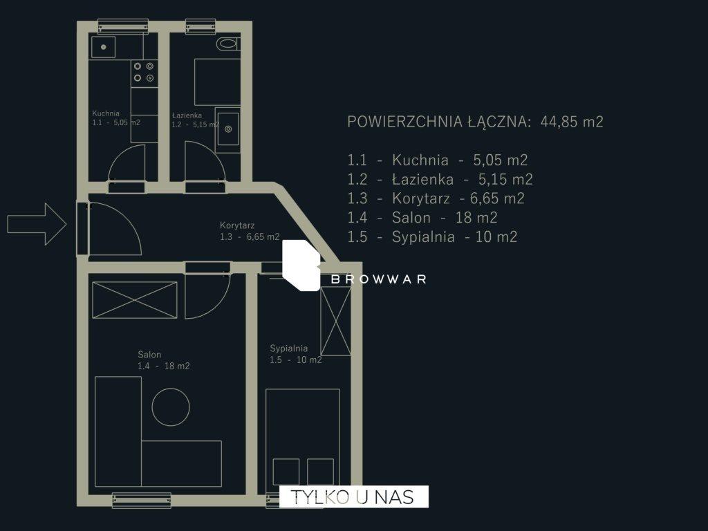 Mieszkanie dwupokojowe na sprzedaż Poznań  46m2 Foto 1