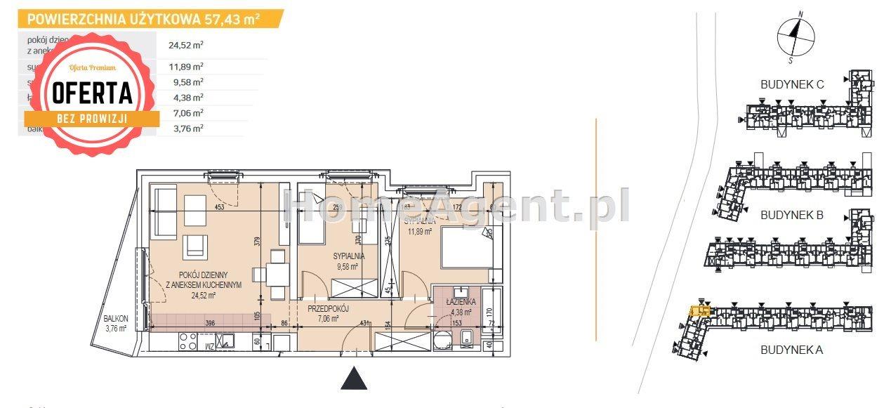Mieszkanie trzypokojowe na sprzedaż Kraków, Podgórze, Bonarka  57m2 Foto 2
