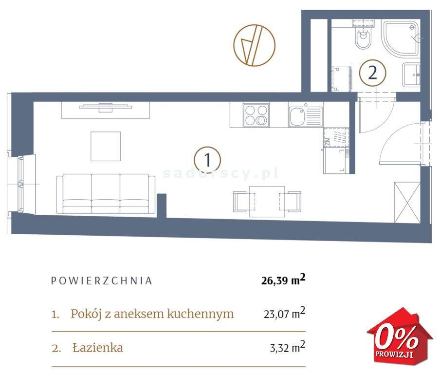Kawalerka na sprzedaż Kraków, Stare Miasto, Kleparz, Filipa - okolice  26m2 Foto 3