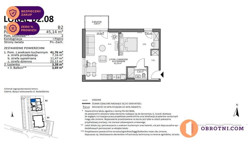Mieszkanie dwupokojowe na sprzedaż Gdańsk, Sobieszewo, Nadwiślańska  45m2 Foto 2
