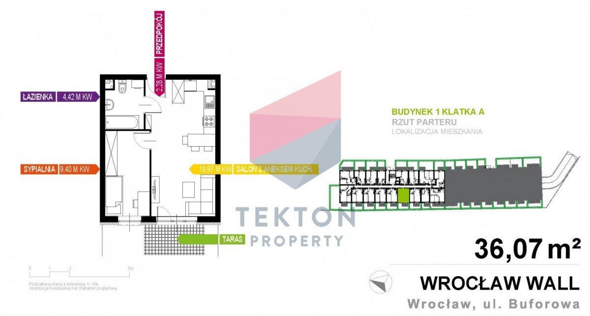 Mieszkanie dwupokojowe na sprzedaż Wrocław, Krzyki, Buforowa  36m2 Foto 1