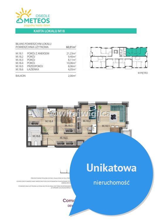 Mieszkanie czteropokojowe  na sprzedaż Wrocław, Psie Pole, Sołtysowice, Poprzeczna  61m2 Foto 6
