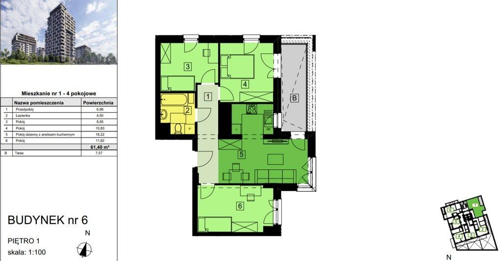 Mieszkanie czteropokojowe  na sprzedaż Rzeszów, Ignacego Paderewskiego  61m2 Foto 2