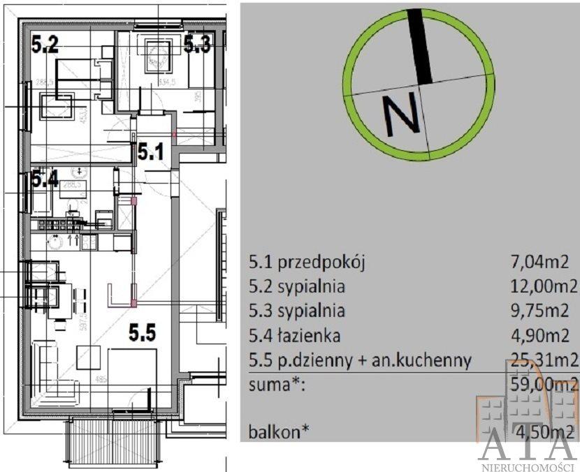 Mieszkanie trzypokojowe na sprzedaż Kiełczów  59m2 Foto 3
