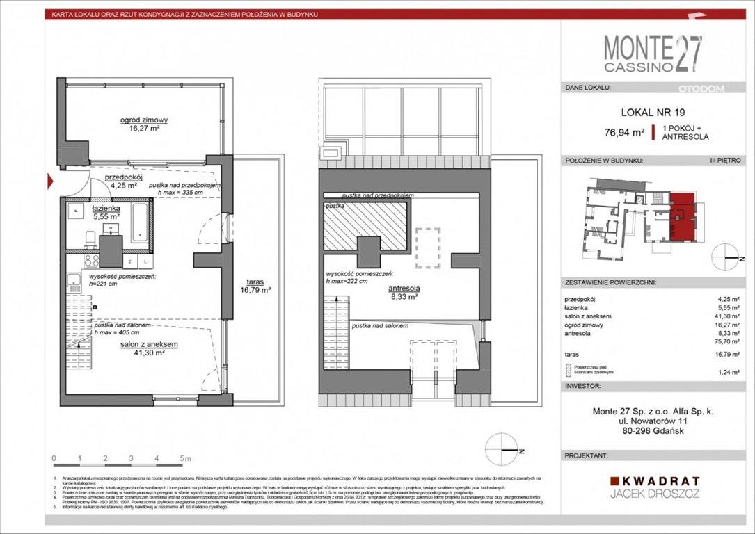 Mieszkanie dwupokojowe na sprzedaż Sopot, Dolny, Bohaterów Monte Cassino  77m2 Foto 5