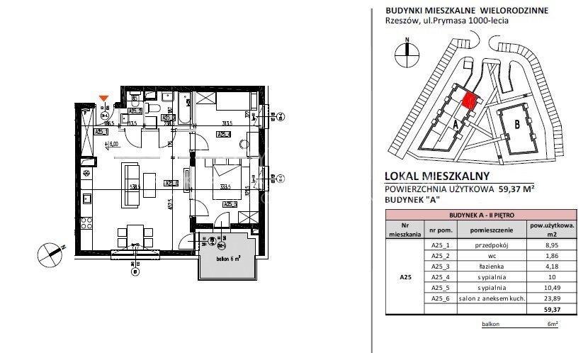 Mieszkanie trzypokojowe na sprzedaż Rzeszów, Baranówka, Prymasa 1000-lecia  59m2 Foto 7