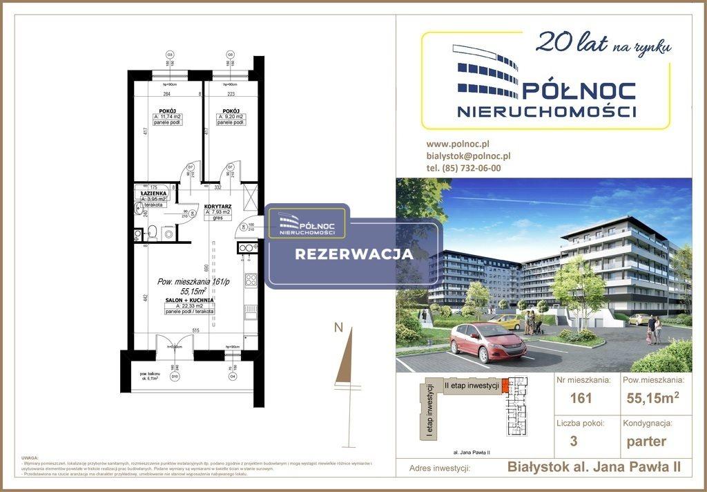 Mieszkanie trzypokojowe na sprzedaż Białystok, Antoniuk, al. Jana Pawła II  55m2 Foto 1