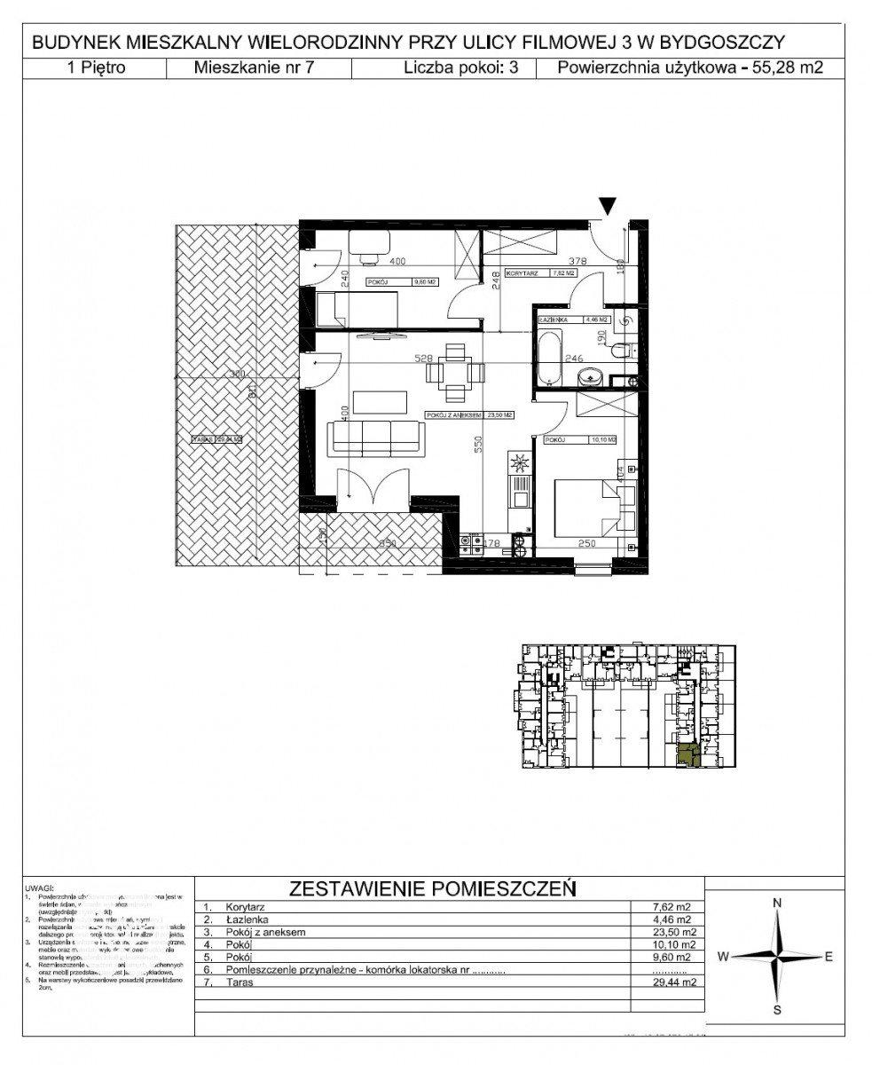 Mieszkanie trzypokojowe na sprzedaż Bydgoszcz, Bartodzieje Małe, Filmowa  55m2 Foto 5
