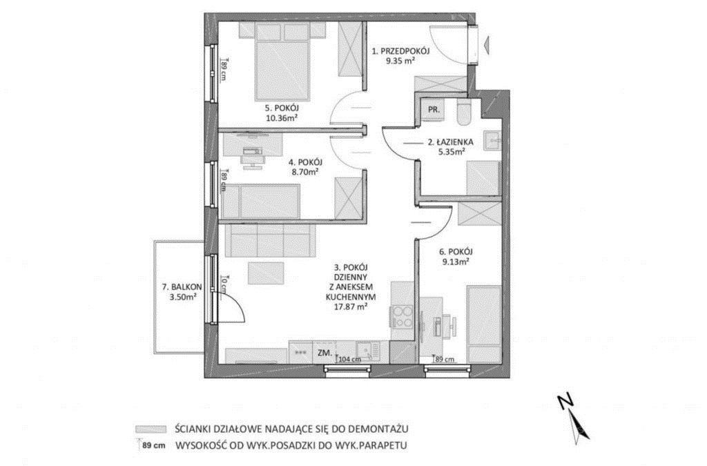 Mieszkanie czteropokojowe  na sprzedaż Gdańsk, Jasień, Potęgowska  61m2 Foto 3