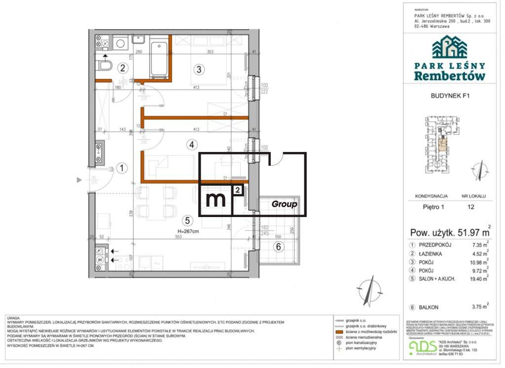 Mieszkanie trzypokojowe na sprzedaż Warszawa, Rembertów, Chełmżyńska  52m2 Foto 2