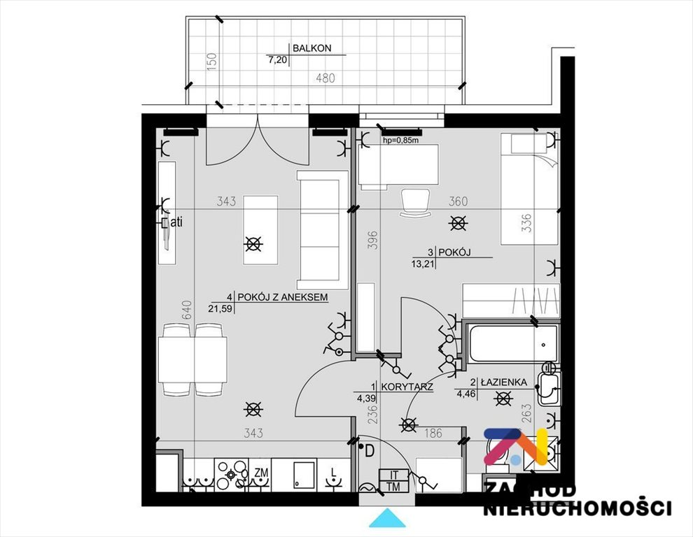 Mieszkanie trzypokojowe na sprzedaż Zielona Góra, Osiedle Śląskie  57m2 Foto 9