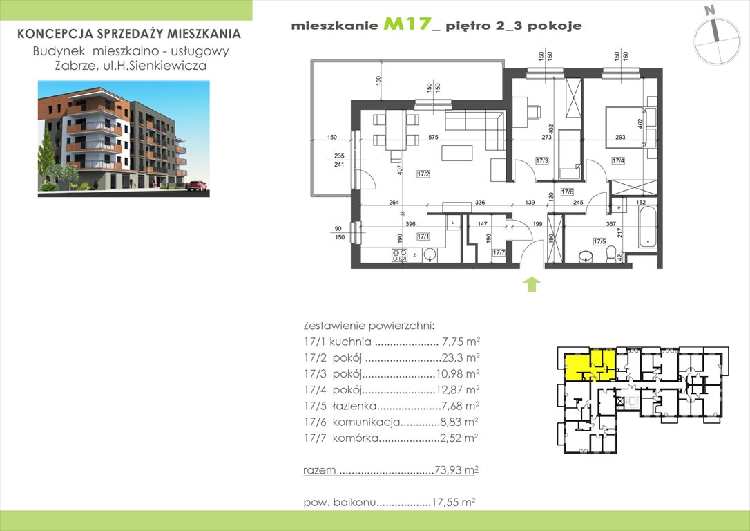 Mieszkanie trzypokojowe na sprzedaż Zabrze, Centrum, Henryka Sienkiewicza 15  73m2 Foto 1