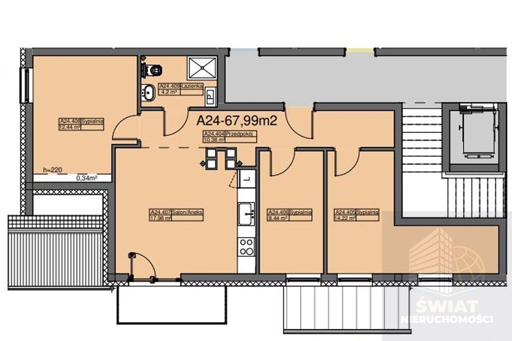 Mieszkanie czteropokojowe  na sprzedaż Szczecin, Dąbie  68m2 Foto 1