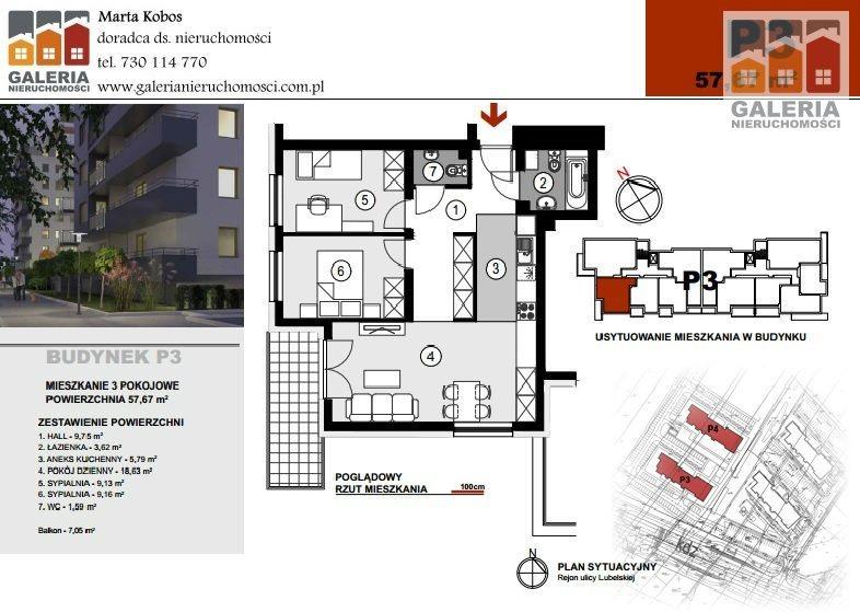 Mieszkanie trzypokojowe na sprzedaż Rzeszów, Staromieście, Lubelska  58m2 Foto 1