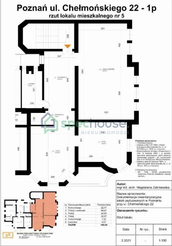 Mieszkanie trzypokojowe na sprzedaż Poznań, Łazarz, Łazarz, Józefa Chełmońskiego  161m2 Foto 1
