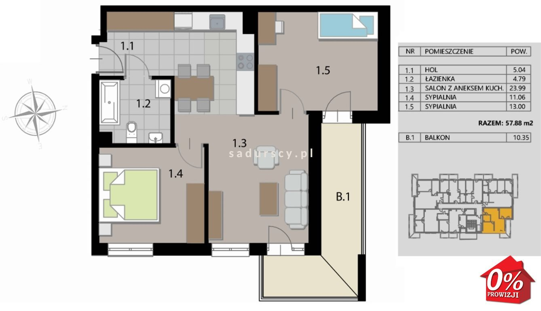 Mieszkanie trzypokojowe na sprzedaż Kraków, Podgórze, Płaszów, Saska - okolice  58m2 Foto 3