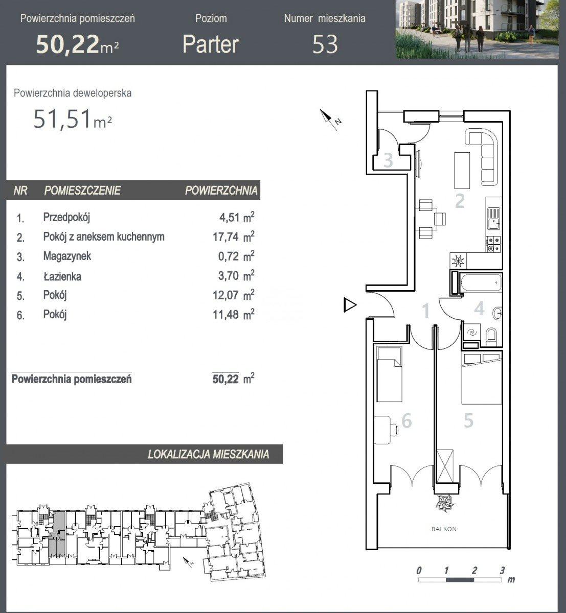 Mieszkanie trzypokojowe na sprzedaż Bydgoszcz, Szwederowo, Stanisława Leszczyńskiego  52m2 Foto 5