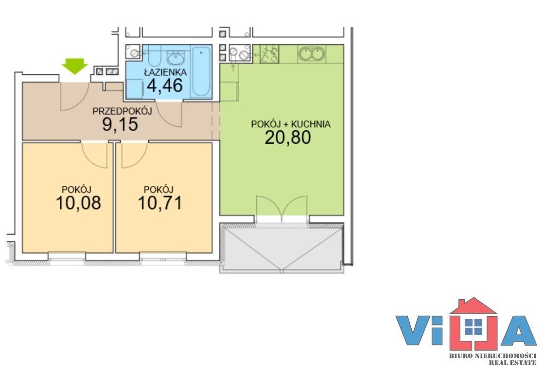 Mieszkanie trzypokojowe na sprzedaż Zielona Góra, os. Czarkowo  56m2 Foto 3