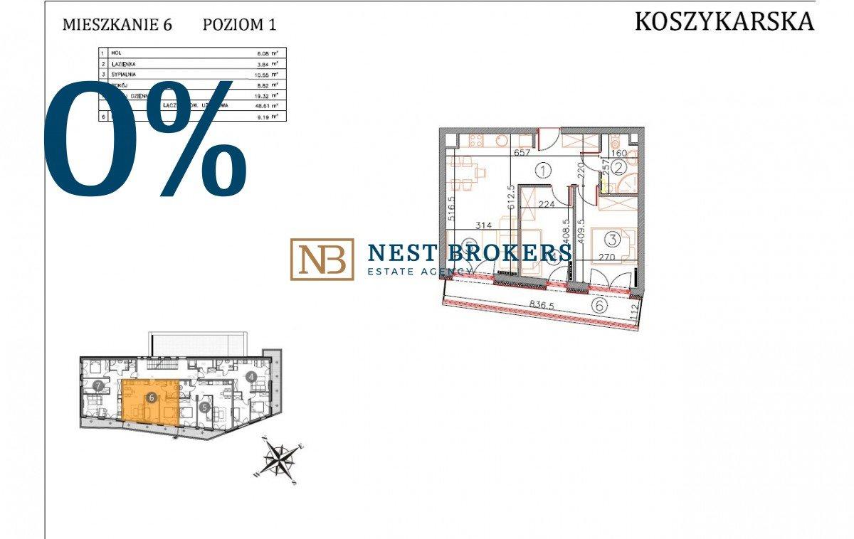 Mieszkanie dwupokojowe na sprzedaż Kraków, Płaszów, Koszykarska  49m2 Foto 2