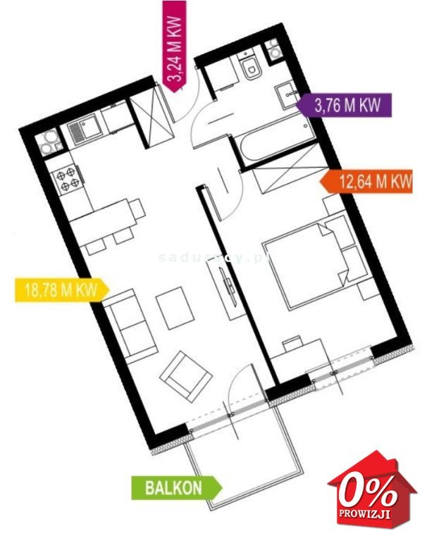Mieszkanie dwupokojowe na sprzedaż Kraków, Prądnik Biały, Prądnik Biały, Kazimierza Wyki - okolice  39m2 Foto 10