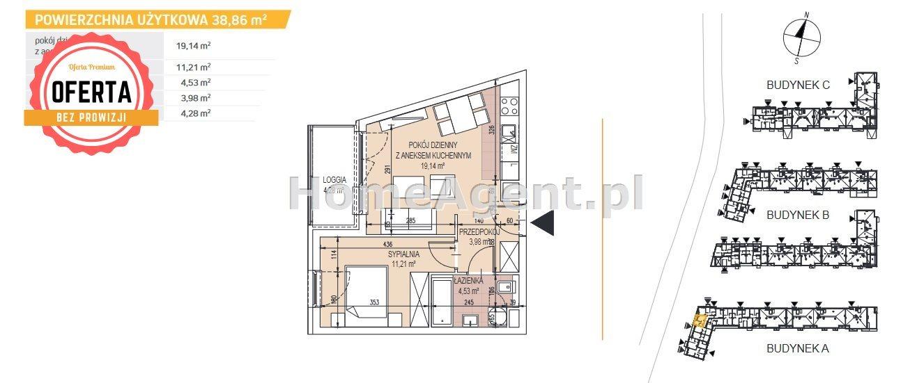 Mieszkanie dwupokojowe na sprzedaż Kraków, Podgórze, Bonarka  39m2 Foto 3