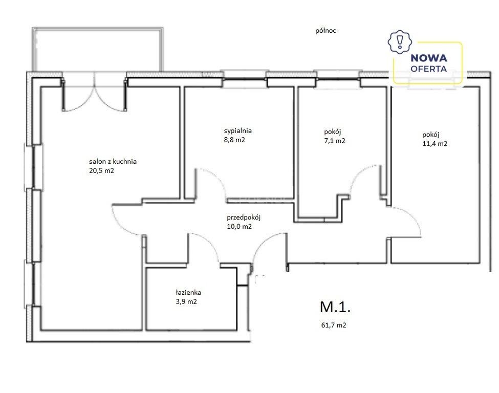 Mieszkanie czteropokojowe  na sprzedaż Legnica, Bielańska  62m2 Foto 1