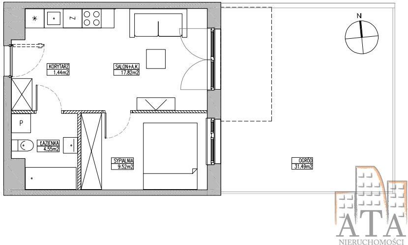 Mieszkanie dwupokojowe na sprzedaż Wrocław, Jagodno, Jagodno, Klasztorna  34m2 Foto 2